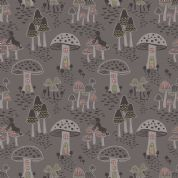 Lewis & Irene Enchanted Forest - 5094 - Toadstool Fairy Houses on Taupe - A187.2 - Cotton Fabric